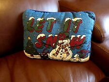 "LET IT SNOW Christmas Holiday Tapestry Pillow - 12.5"" x 9.5"""