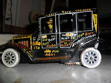 Antique  1950`S Leaping Lizzie Litho Tin Wind Up Jalopy Toy Car Marx IN SPANISH
