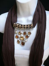 New Women Scarf Necklace Brown Soft Fabric  Silver Triangle Pendant Big Beads