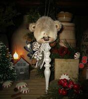 "Patti's Ratties 9"" Bear Snowman Ornament Christmas Tree OOAK Gift Artist Sikes"
