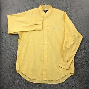 Ralph Lauren Button Down Shirt L Mens Regular Size Long Sleeve Plaid Yellow