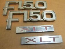 80 81 82-86 FORD TRUCK F-150 XLT FENDER EMBLEMS BADGES OEM E2TB-16B114-DA (SET)