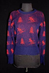 VERY COLLECTIBLE RARE VINTAGE 1940'S RED AND BLUE WOOL SKI SWEATER SIZE SMALL