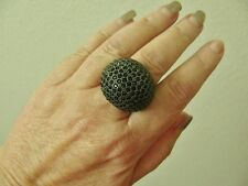 BLACK PAVE CRYSTAL COCKTAIL DINNER STATEMENT RING, SIZE 7