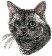 """1 7/8"""" x 2"""" American Short Hair Cat Breed Portrait Embroidery Applique Patch"""