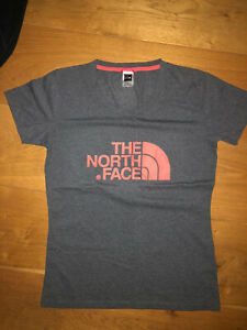 North Face Grey And Coral/ Pink Logo T Shirt Size M