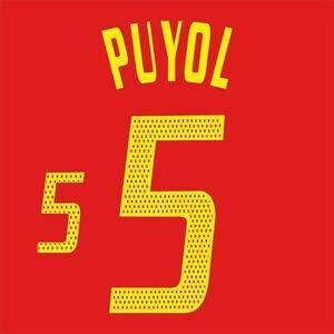Puyol 5. Spain Home football shirt 2002 - 2004 FLEX NAMESET NAME SET