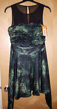 Karen Millen Tropical Palm Print Dress Size 12 Green / Black Cocktail DN263
