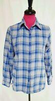 LL Bean Shirt Size XXS Womens Blue Gray Plaid Faux Fur Lined Long Sleeve
