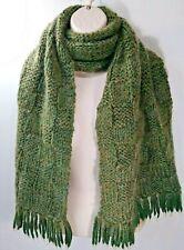 "Scottish Wool Thick Knit Scarf Fringe Hem Olive Green Gold 14"" x 68"""