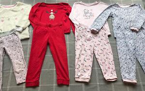 4 Pairs Of Girls Pjs Pyjamas Sleep Wear Christmas Winnie The Pooh 2-3 Years