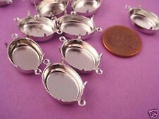 12 Silver tone Oval Pronged Settings 18x13 2 Ring closed back Connectors
