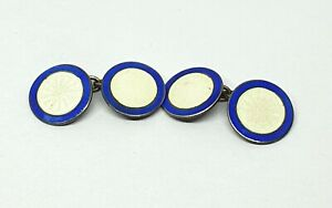 Vintage Sterling Silver cufflinks with White and Blue Enamel