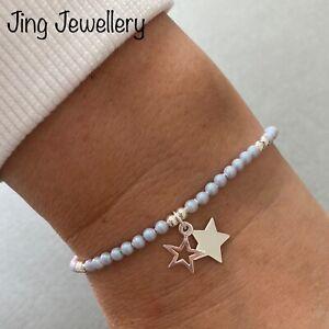Sterling Silver Swarovski Pearl Beaded Stretch Stacking Bracelet Star Charms 925
