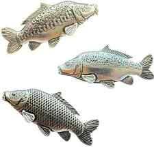 More details for set of 3 carp fish handcrafted in english pewter badges tsb f42 f35 f36
