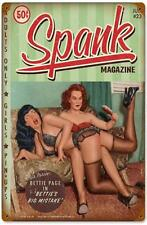 Bettie Page Pin Up Girl Spank Metal Sign Man Cave Garage Shop Club TINBPSP