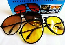 Vintage Retro 1970s 80s X2 pairs inside, Amber Sunglasses & Night Glasses