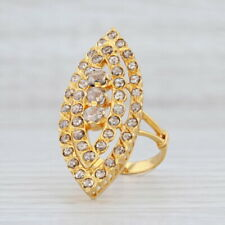 New 2ctw Diamond Cocktail Ring 18k Yellow Gold Size 7.5 Champagne Brown