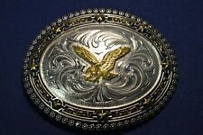 Lonestar Silversmith Silver Scrolls Gold Eagle Black Western Belt Buckle #12