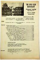 1955 Vintage Menu SWAN CLUB RESTAURANT Glenwood Landing Hamlet Long Island NY