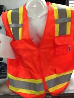 High Visibility Orange Two Tones Safety Vest , ANSI/ ISEA 107-2015