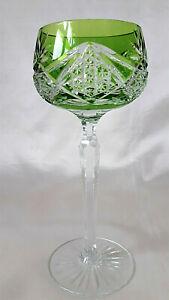 A Val St Lambert Cut Green Overlay Bowl Hock/Wine Glass