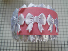 2m - White - Bow Motif -Trimming,Appliques,Wedding- Satin Lace Ribbon 3cm x 3cm