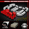 "UNIVERSAL T-2 12PC 2.5"" ALUMINUM INTERCOOLER PIPING+SILICONE HOSES+CLAMPS SILVER"