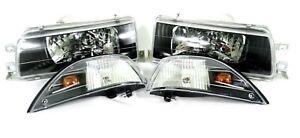 For 88 92 Toyota Corolla AE90 AE92 93 94 BLACK Headlights Headlamps E90 EE90