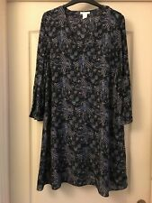 Ladies H&M Blue Fluted Sleeve Dress Size 10