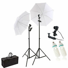 Kit 2x150w Photo Studio Umbrella Light Stand Bulb continuous lighting lamp bag