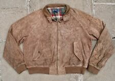 De colección Ralph Lauren Polo Marrón Gamuza Cuero Harrington Bomber Jacket Coat XL