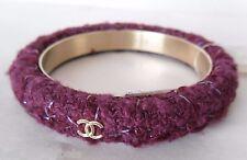 CHANEL 3 Gold CC Logos on Tweed Bangle Cuff Bracelet Size Medium NWT