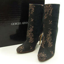 Auth GIORGIO ARMANII boots flower embroidered ladies used Y1181