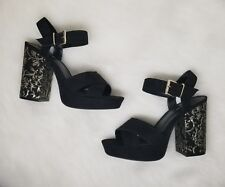 Parker & Sky Black Platfrom Blocked Heels Gold   Sz 8.5