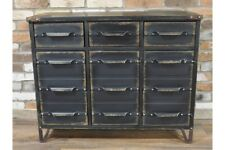 Black Large Industrial Metal Cabinet Chest Of 3 Drawers & Cupboards Storage Unit
