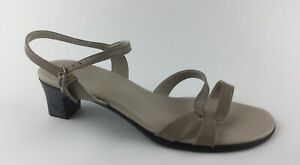 Munro American Womens Beige Leather Ankle Strap Sandals Heels Sz US 9.5