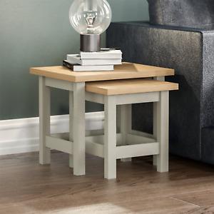 Arlington Nest of 2 Tables Side End Table Set MDF Square Modern Furniture Grey