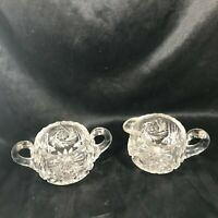 Set of Vintage Crystal Cut Glass Snowburst Sugar Bowl Creamer