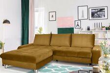 Couchgarnitur MAXIME Senfgelb mit Schlaffunktion Ottomane Links