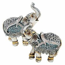 Pair of Steel Blue Ceremonial Jumbo Mini Elephant 10cm High Ornament