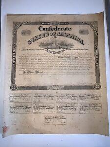 1863 $500 4% 30 Year Confederate CSA War Bond