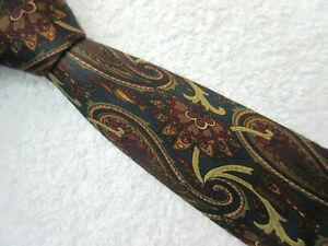 NAVY BLUE BURGUNDY PAISLEY 3.5 INCH SILK TIE necktie by RINALDO GAMBINI