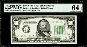 $50 1934B Federal Reserve Note San Francisco Fr#2104-L PMG64 EPQ Choice UNC.