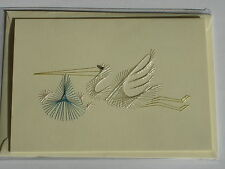 HAND STITCHED HANDMADE NEW BABY CARD - STORK CARRYING BLUE BUNDLE