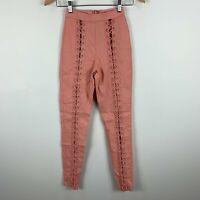 Fashion Nova Womens Pants XS Extra Small Peach Pink Zip Closure Skinny