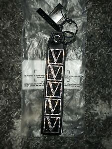 Victoria Secret rhinestone wristlet strap/keychain brand new silver V logo