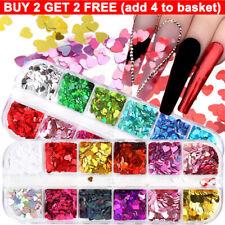 12 Grids Love Heart Nail Sequins Glitter Flakes 3D Nail Decoration Manicure Art