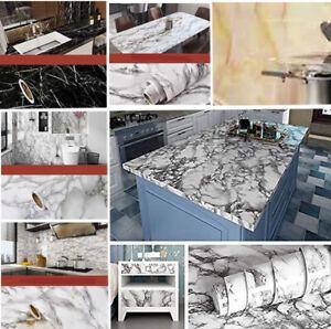 5 Metres Vinyl Self Adhesive Marble Worktop Cupboard Door Cover Kitchen