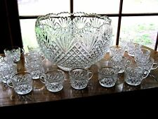 Vintage LE Smith Pineapple Diamond Fan Punch Bowl With 18 Cups & Original Box